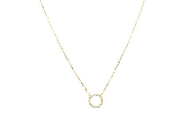 Necklace Pave Circle Gold