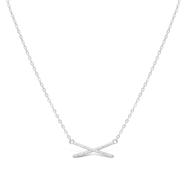 XOXO Chain Necklace Pave X Silver