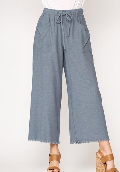 Frayed Long Pants Slate Blue