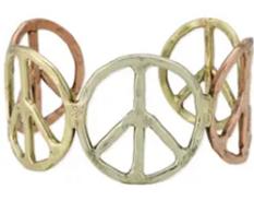Woodstock Vibes Mixed Metal Peace Sign Bracelet
