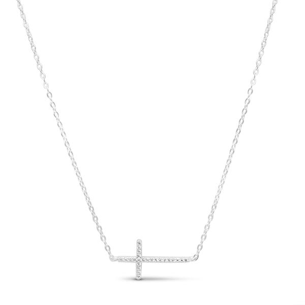 Pave Sideways Cross Necklace Silver