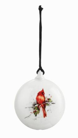 Ceramic Cardinal and Holly Ornament