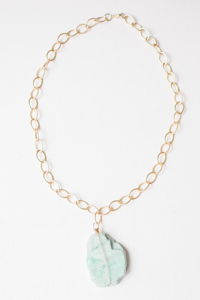 """LC Scout Chunky Amazonite Necklace Bright Gold 18"""""""