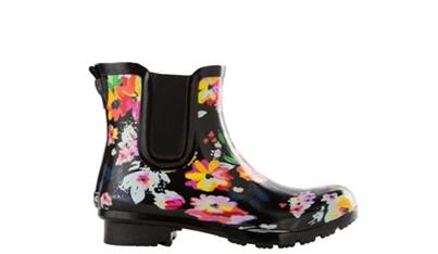 Chelsea Black Floral Women's Rain Boots