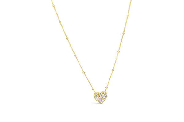 Charm & Chain Necklace Pave Heart Gold