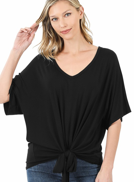 Solid V Neck Tie Front Top