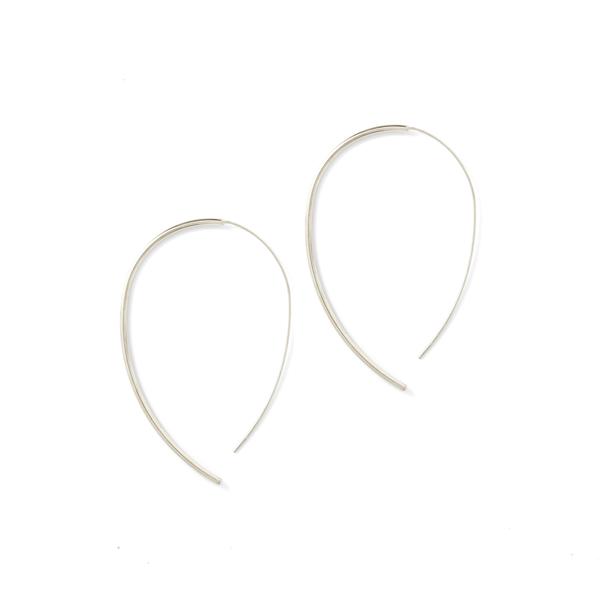 Earrings Large Round Open Hoop Silver