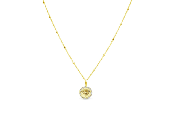 Charm & Chain Necklace Pave Queen Bee Gold