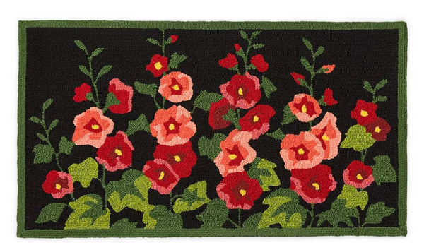 Hooked Rug Hollyhocks ***Local Pickup Only***