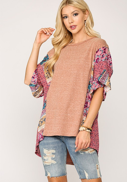 Clay Hi Low Hem Dolman Ruffle Top