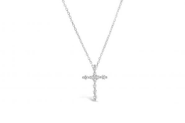 Charm & Chain Prong Cross Slider Necklace Silver