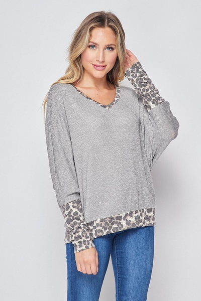 Silver Top with Leopard Accents