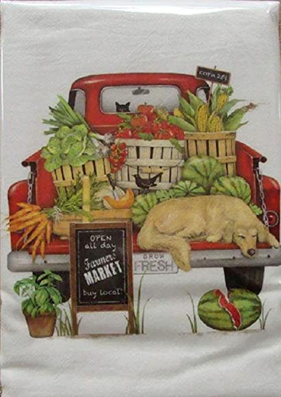 Red Truck Market Flour Sack Towel