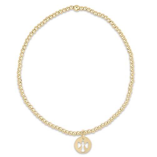 Classic Gold 2mm Bead Bracelet Guardian Angel Charm