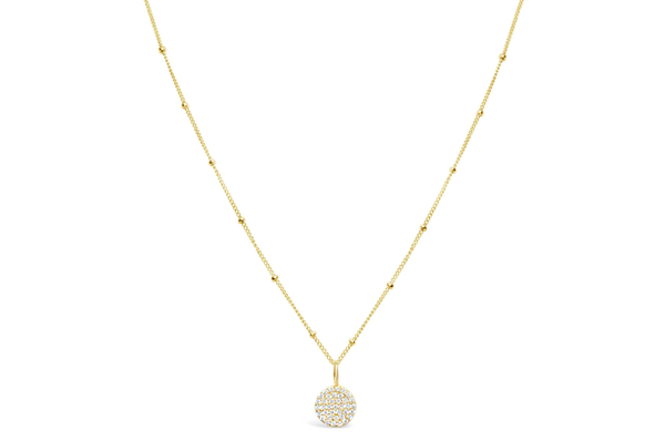 Charm & Chain Necklace Pave Disk Gold