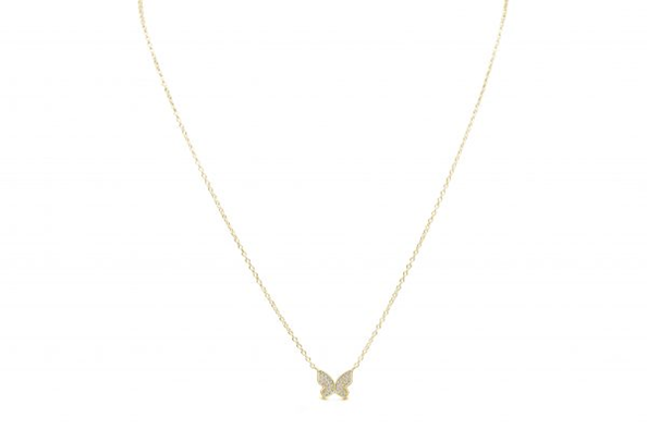 Spread Your Wings Butterfly Necklace Gold
