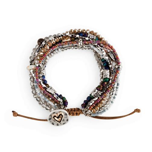 Beaded Love Bracelet Gray