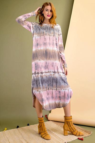 Tie Dye Printed Terry Midi Dress