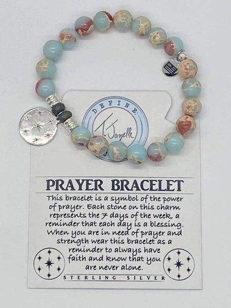 T. Jazelle Desert Jasper Bracelet w Silver Prayer Charm