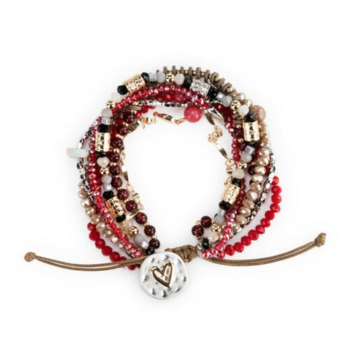 Beaded Love Bracelet Garnet