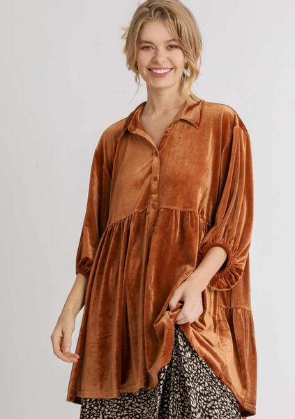 Velvet 3/4 Sleeve Tunic Dress Orange