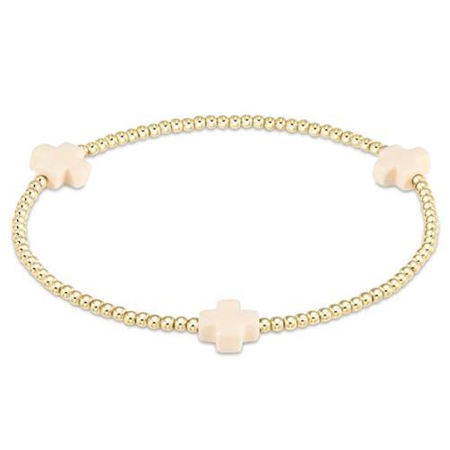 Signature Cross Gold Pattern Bracelet  2mm Off White