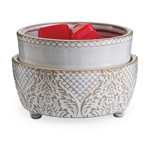 Candle Warmer & Dish Vintage White