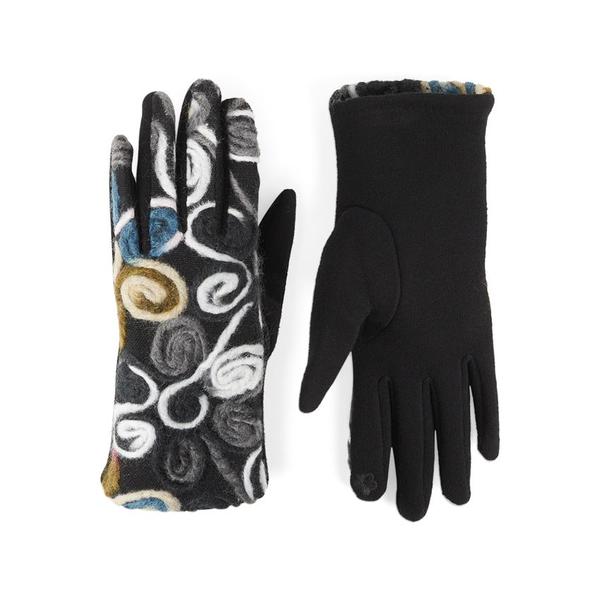 Black & White Flowers Felt Touchscreen Gloves