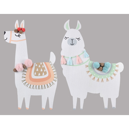 Wood Llama with Pom Pom Wall Decor Asst.