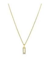 Elongated Drop Link Necklace Gold