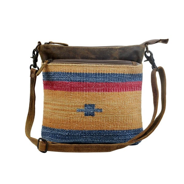 Yellow and Blue Stripes Crossbody Bag
