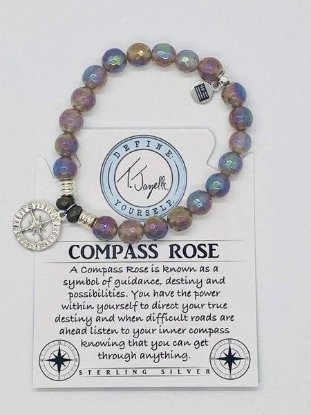 T. Jazelle Mystic Grey Agate Bracelet w Silver Compass Rose Charm