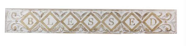 Wood Carved White Washed Blessed Sign ***Local Pickup Only***