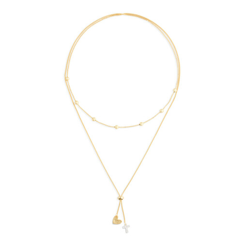 Lariat Charm Necklace Heart and Cross