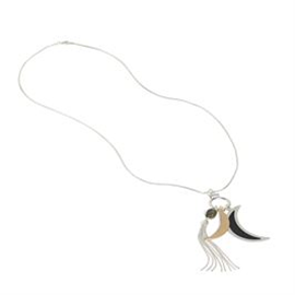 Crescent and Tassel Necklace Silver