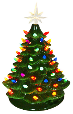 """16"""" Ceramic Green Tree Multi Colored Lights ***Local Pickup Only***"""