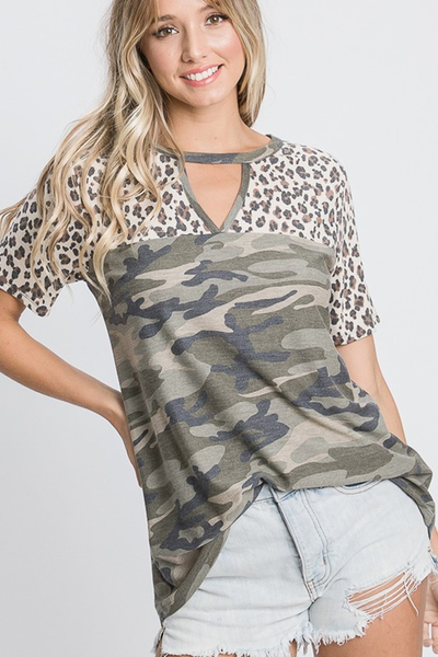 Olive Camo Top with Leopard