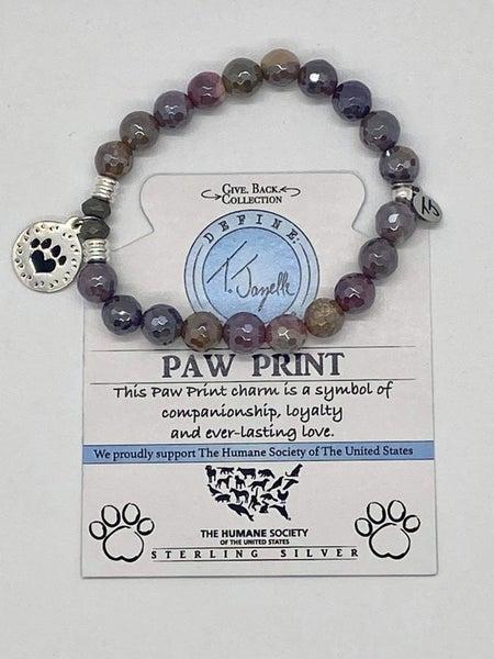 T. Jazelle Mookaite Bracelet with Silver Paw Print Charm