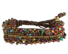 Boho Clusters Bronze & Multi Bead Pull Bracelet