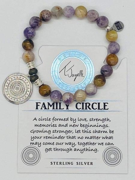 T. Jazelle Sage Amethyst Agate Bracelet w Silver Family Circle Charm