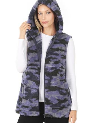Navy Camoflauge Sherpa Vest