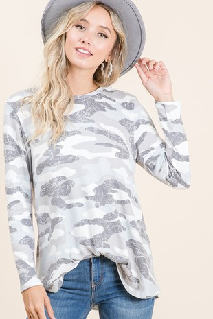LS Camo Top French Terry