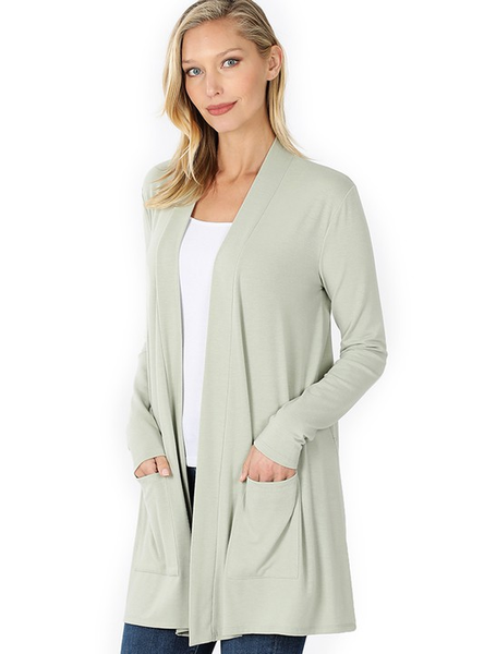 Light Sage Slouchy Pocket Cardigan