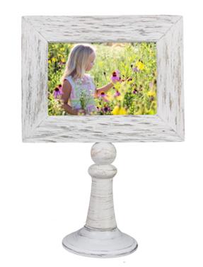 Wood 4x6 Whitewashed Frame on Pedestal
