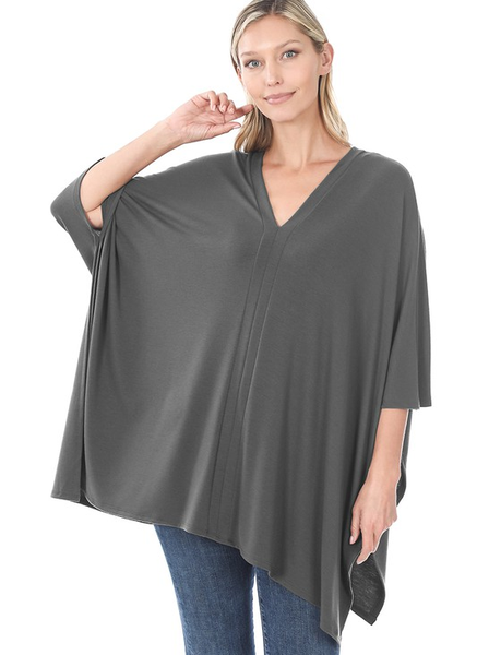 Ash Grey V Neck Poncho