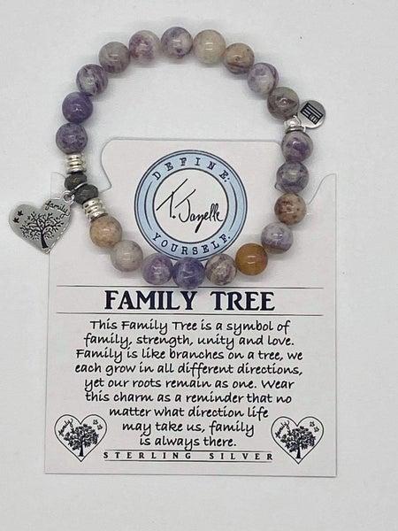 T. Jazelle Sage Amethyst Agate Bracelet w Silver Family Tree Charm