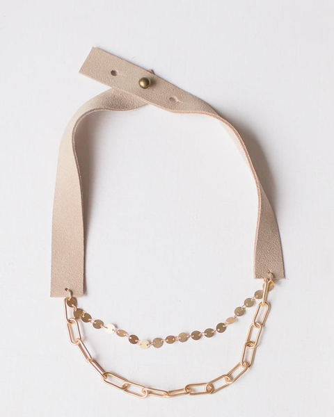 LC Anah Beautiful Layered Matte Gold Chains Sand Suede