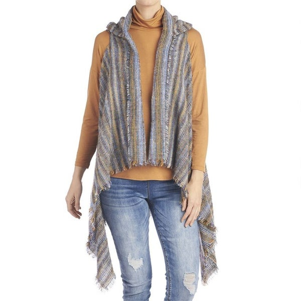 Grandview Hooded Vest Blue Stripe
