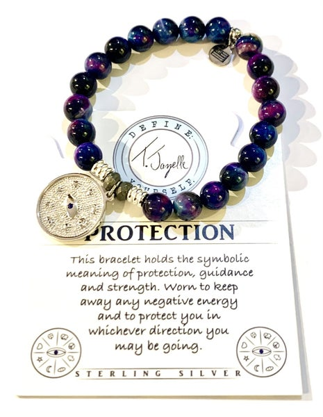 T. Jazelle Indigo Tiger's Eye Stone Bracelet with Protection Sterling Silver Charm