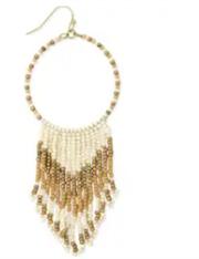 Desert Tan Cream Beaded Fringe Earrings